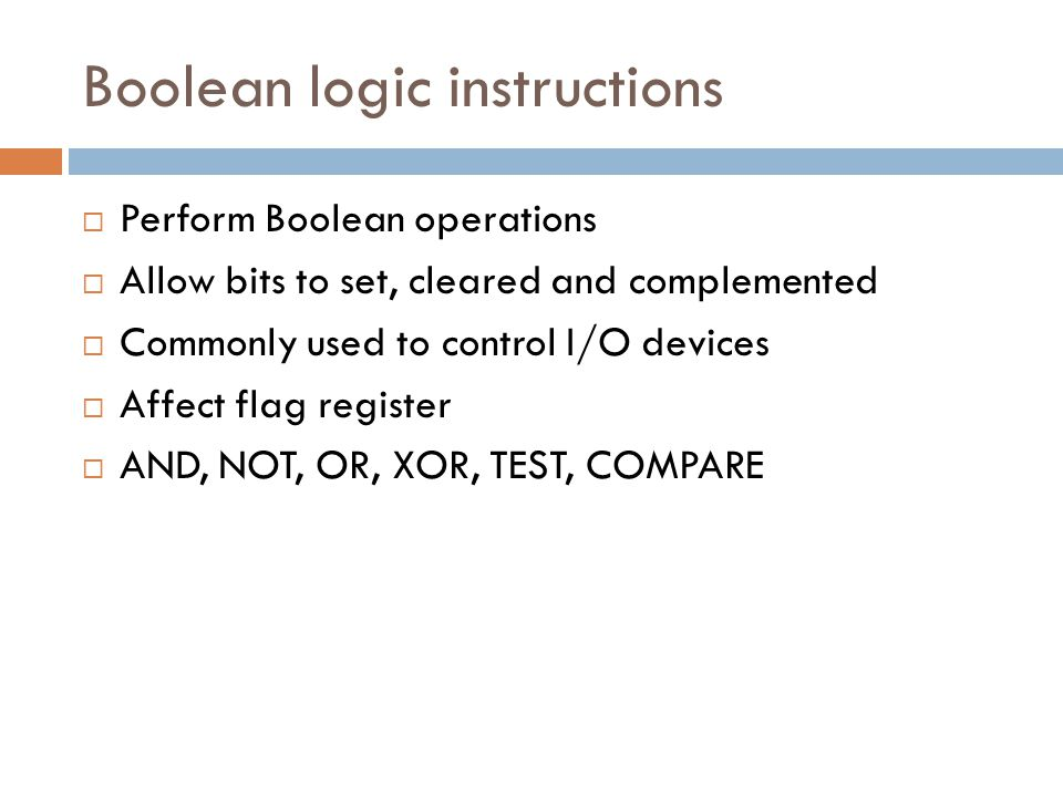 Boolean logic instructions