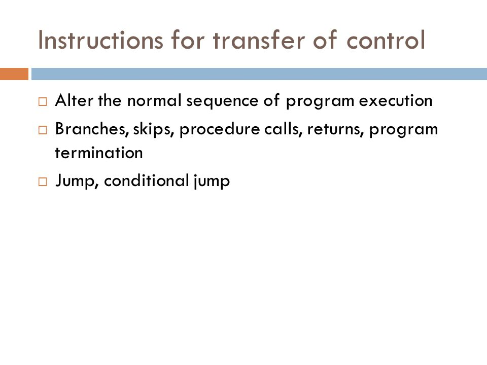 Instructions for transfer of control