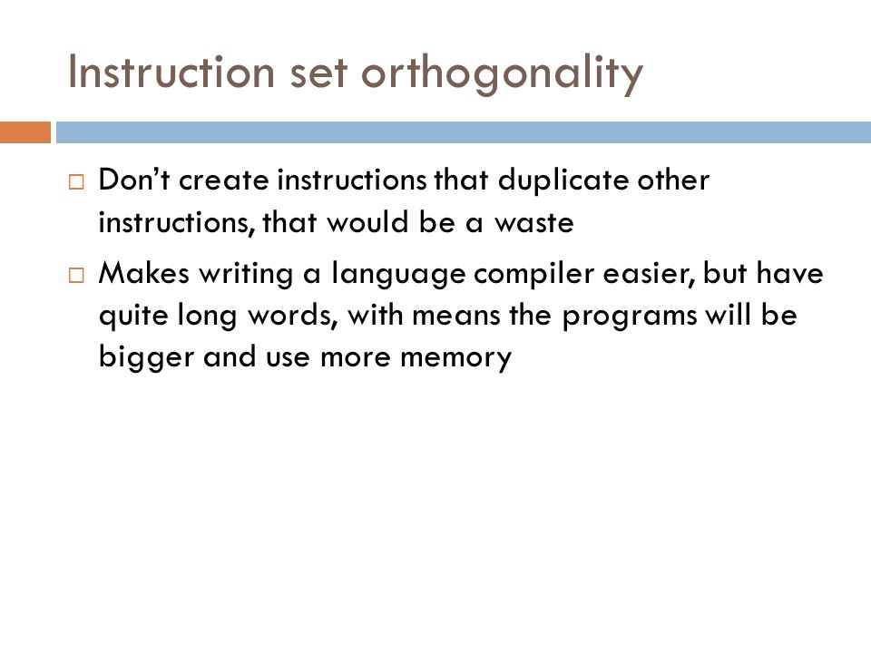 Instruction set orthogonality