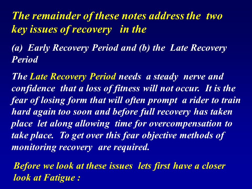 The remainder of these notes address the two key issues of recovery in the