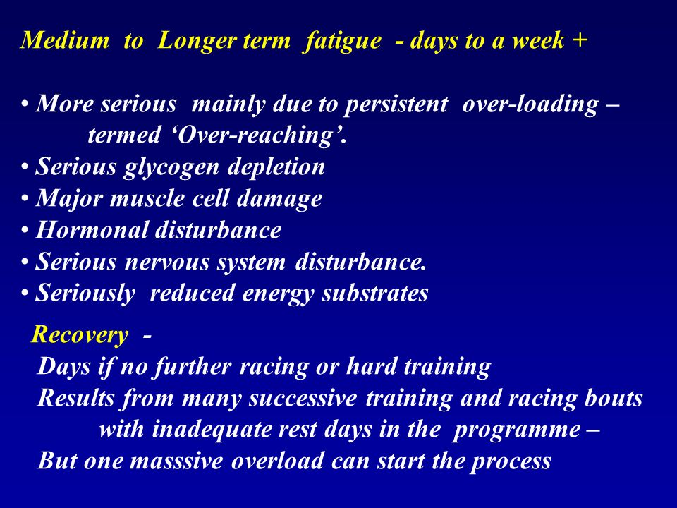 Medium to Longer term fatigue - days to a week +