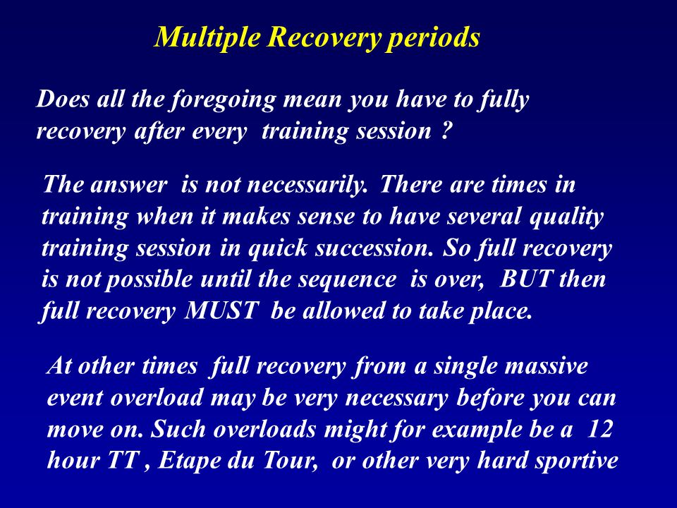 Multiple Recovery periods