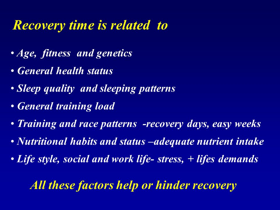 All these factors help or hinder recovery