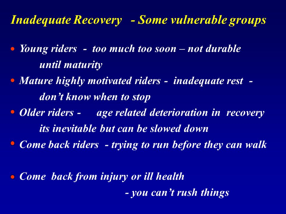Inadequate Recovery - Some vulnerable groups