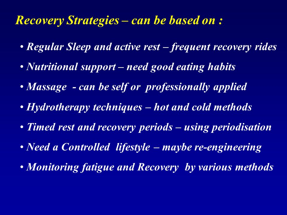 Recovery Strategies – can be based on :