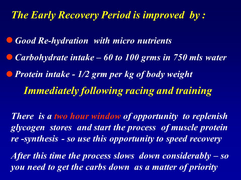 The Early Recovery Period is improved by :