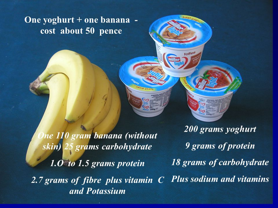 One yoghurt + one banana - cost about 50 pence