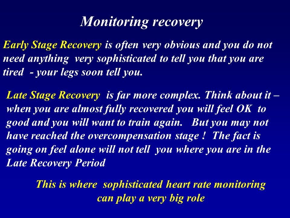 Monitoring recovery