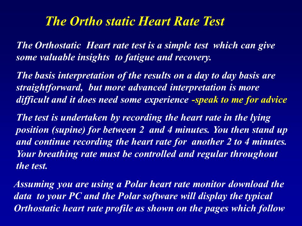 The Ortho static Heart Rate Test