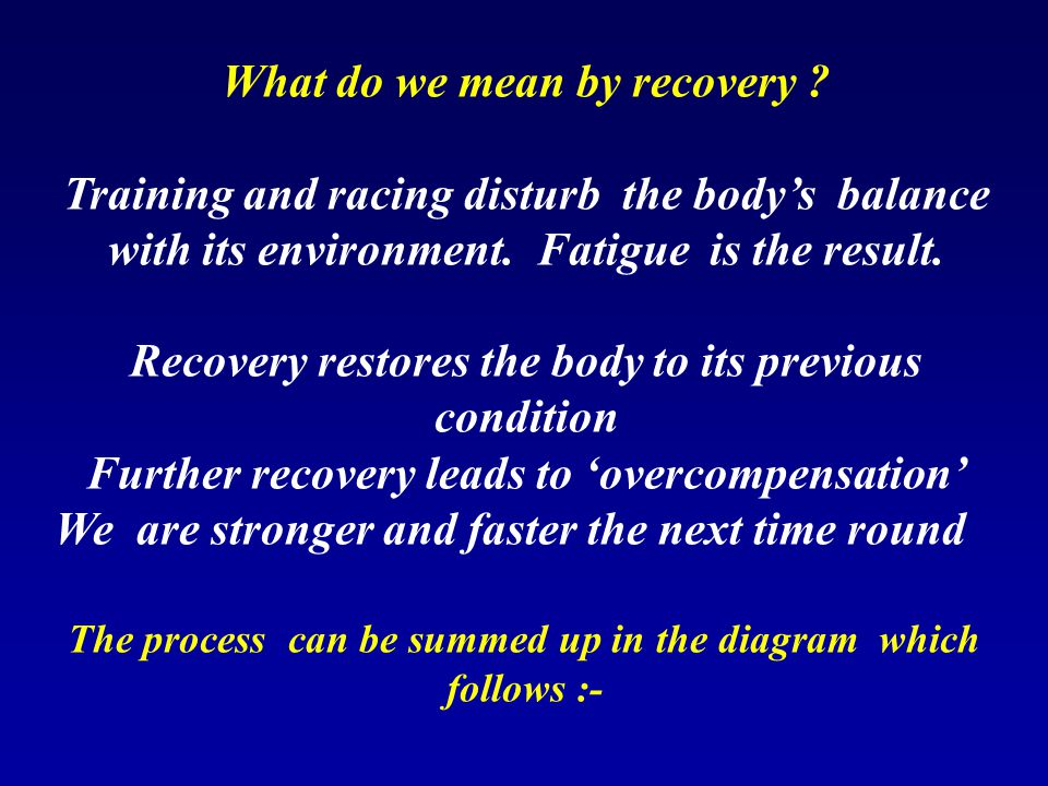 What do we mean by recovery