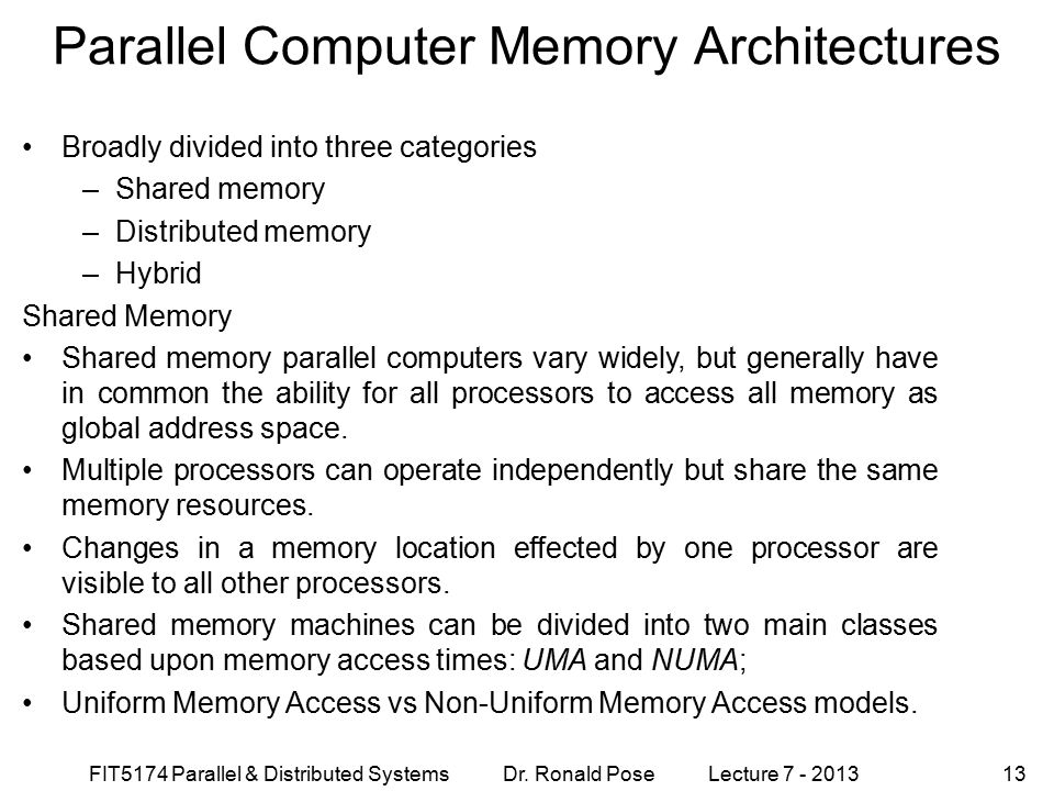 Parallel Computer Memory Architectures