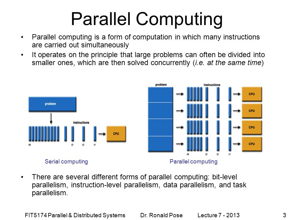 Parallel Computing September 4, Parallel computing is a form of computation in which many instructions are carried out simultaneously.