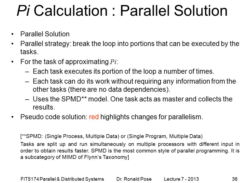 Pi Calculation : Parallel Solution