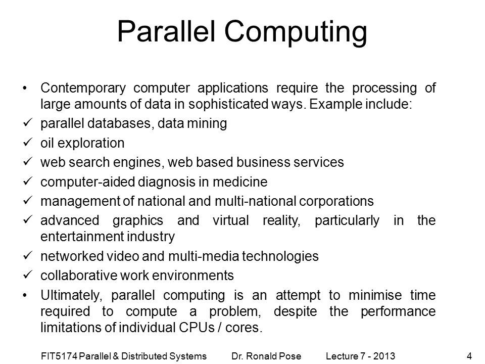 Parallel Computing September 4, 1997.