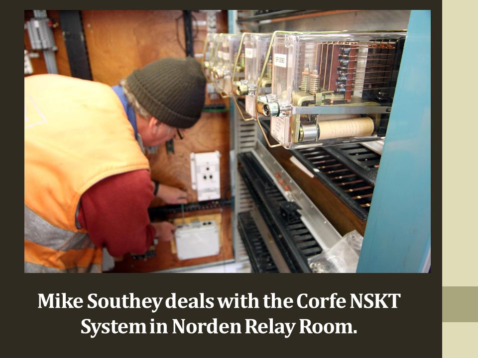 Mike Southey dealing Mike Southey deals with the Corfe NSKT System in Norden Relay Room.