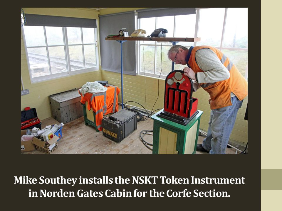 Mike Southey installs the NSKT Token Instrument in Norden Gates Cabin for the Corfe Section.