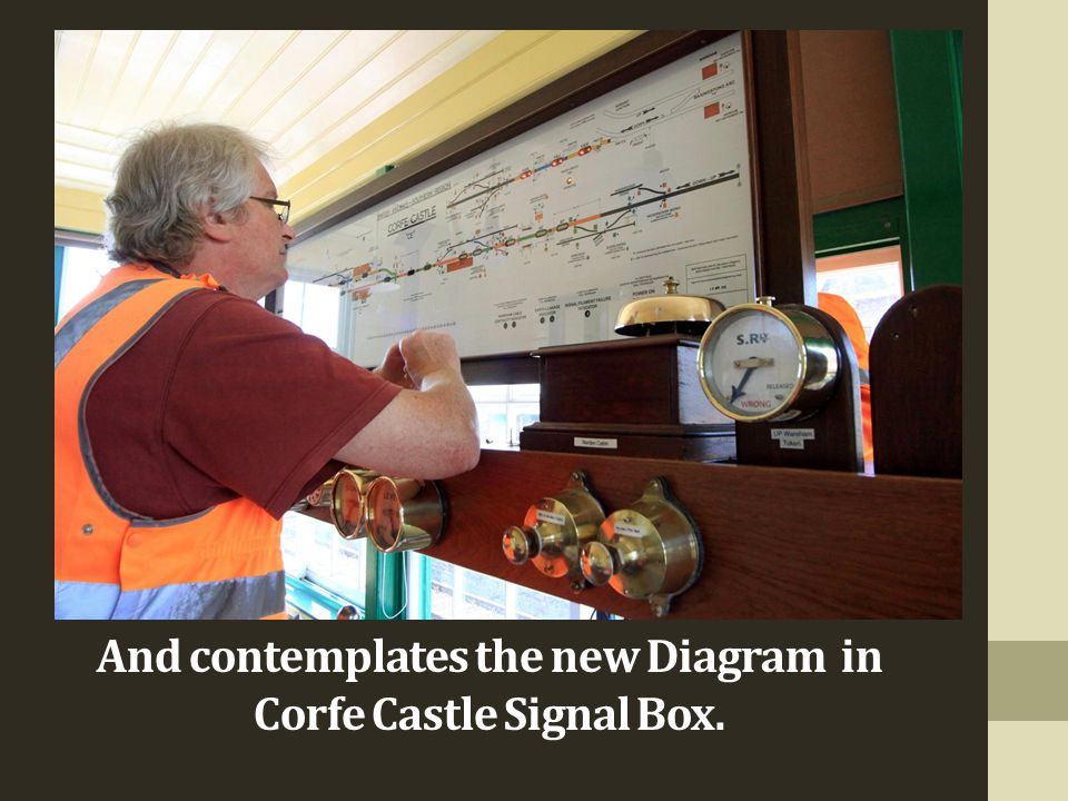 And contemplates the new Diagram in Corfe Castle Signal Box.