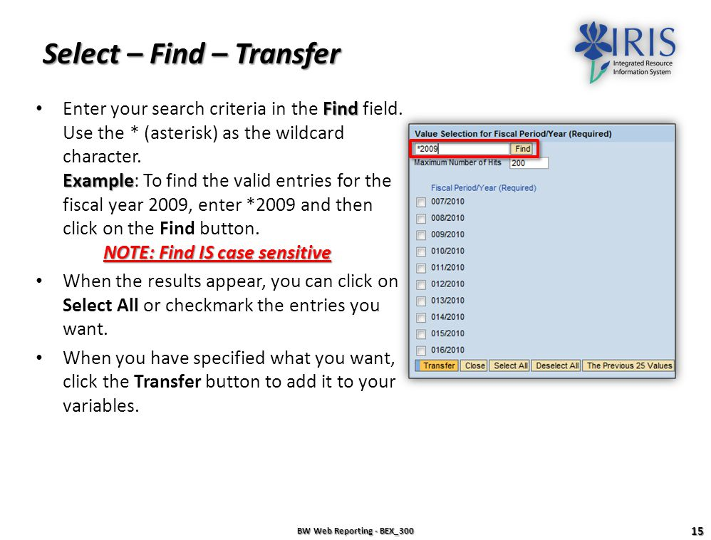 Select – Find – Transfer