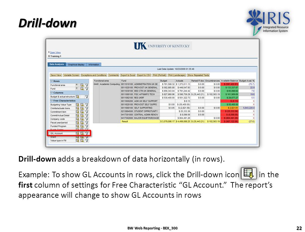 Drill-down Drill-down adds a breakdown of data horizontally (in rows).