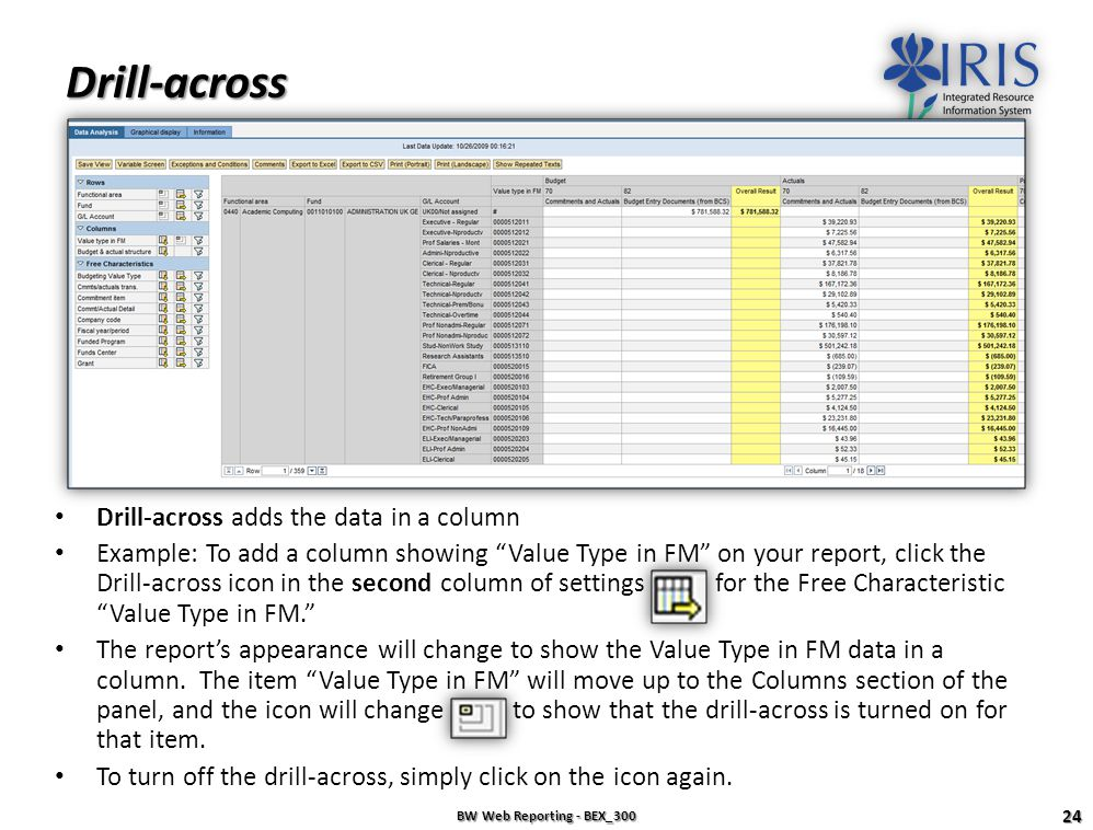 Drill-across Drill-across adds the data in a column