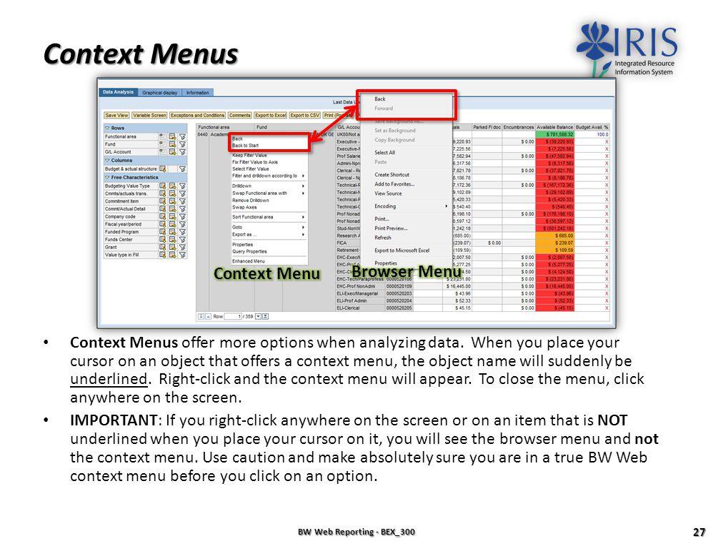 Context Menus Context Menu Browser Menu