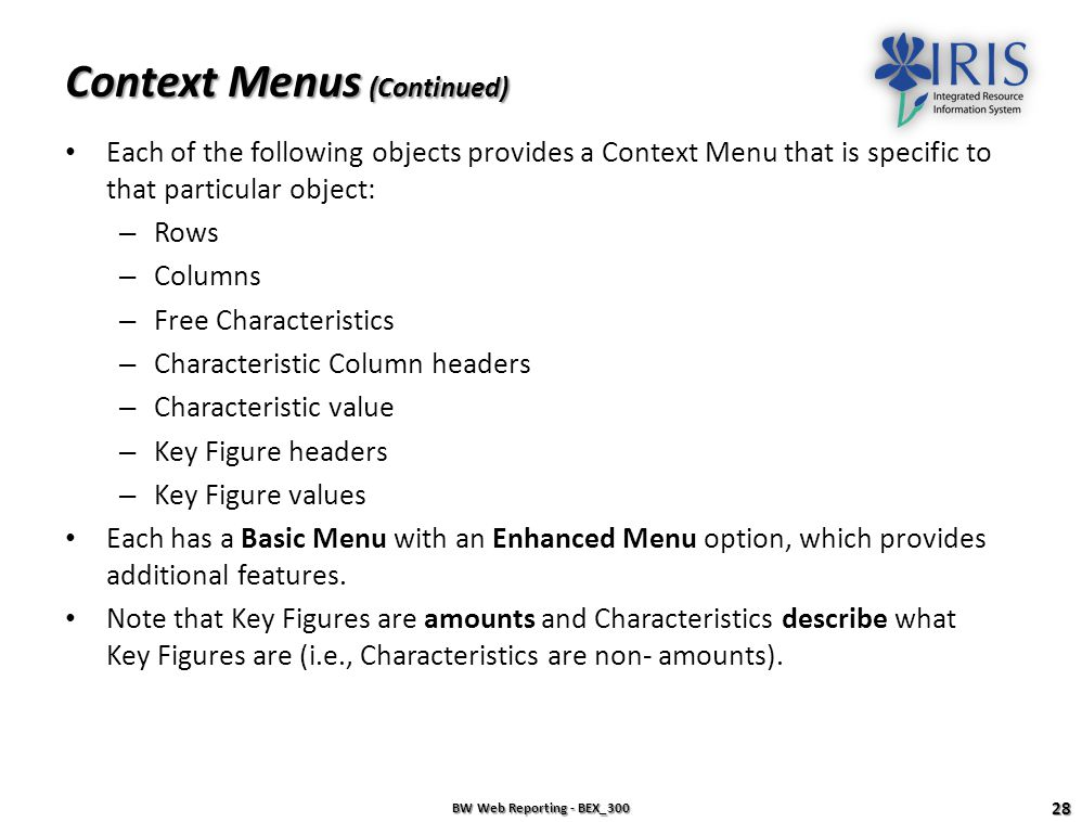 Context Menus (Continued)