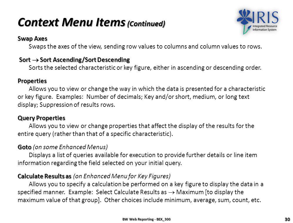 Context Menu Items (Continued)