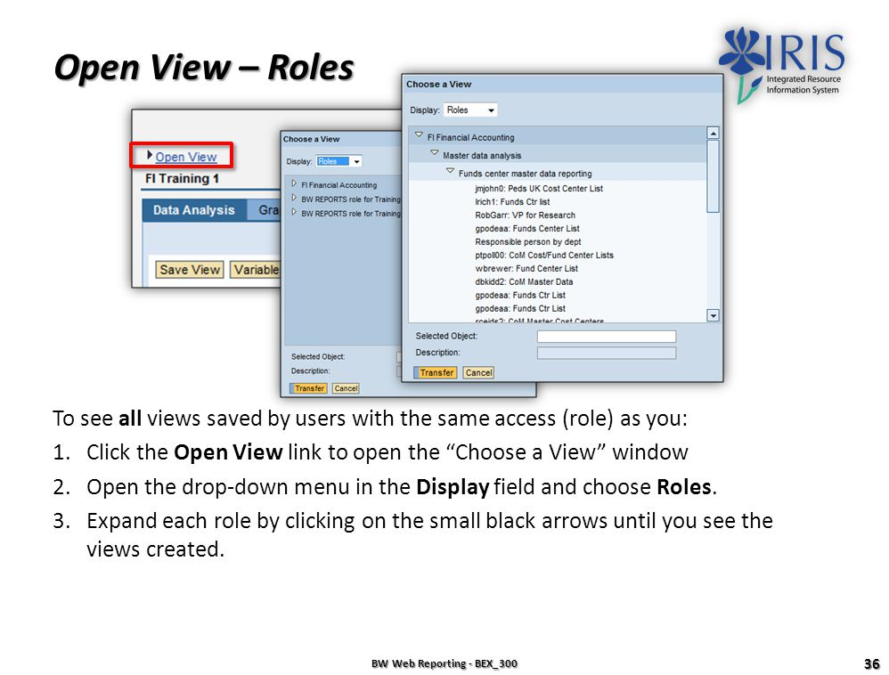 Open View – Roles To see all views saved by users with the same access (role) as you: Click the Open View link to open the Choose a View window.