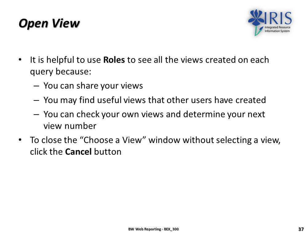 Open View It is helpful to use Roles to see all the views created on each query because: You can share your views.