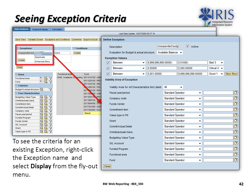 Seeing Exception Criteria