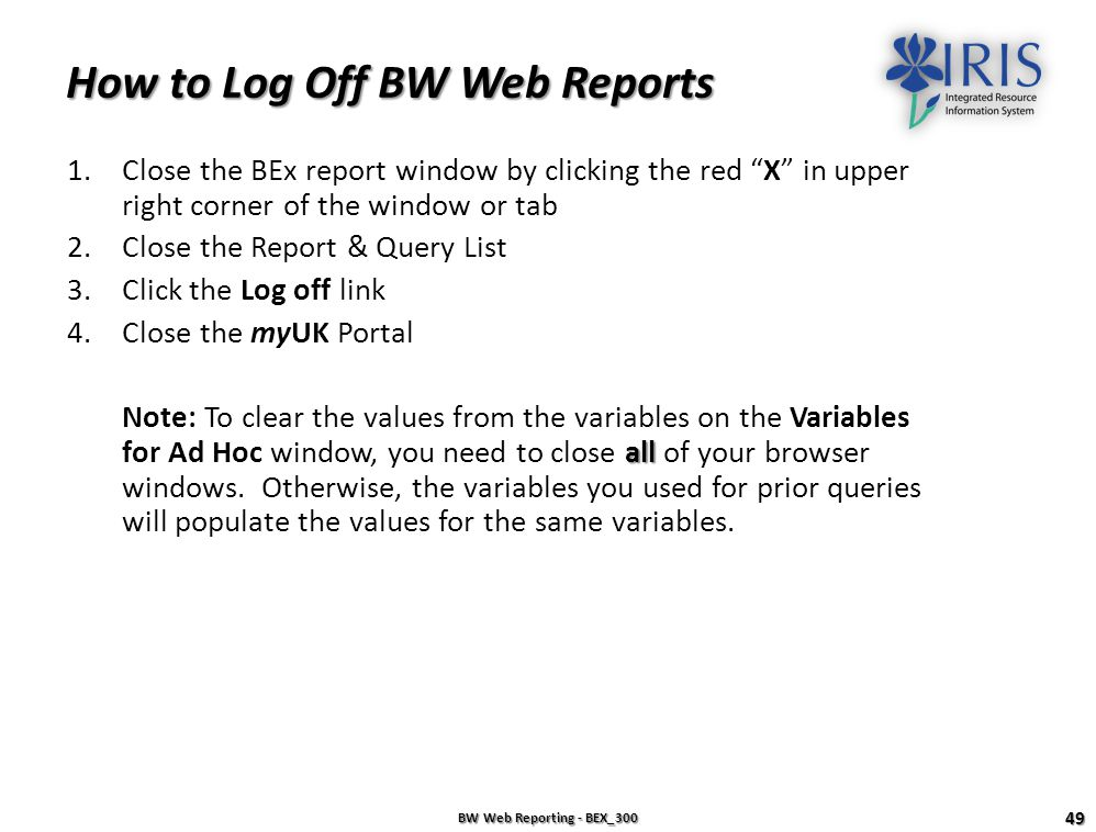 How to Log Off BW Web Reports