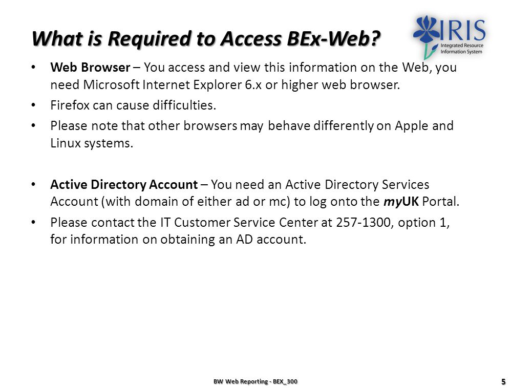 What is Required to Access BEx-Web