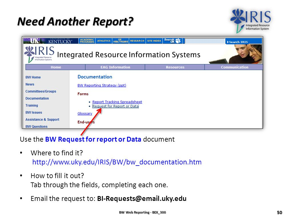 Need Another Report Use the BW Request for report or Data document