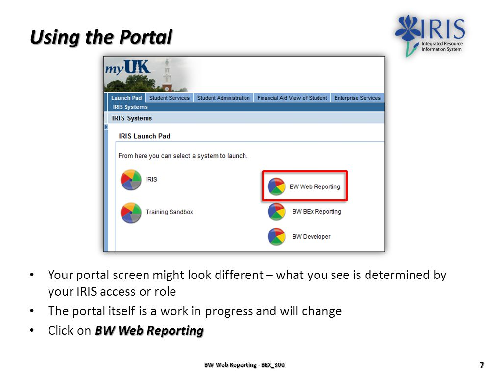 Using the Portal Your portal screen might look different – what you see is determined by your IRIS access or role.