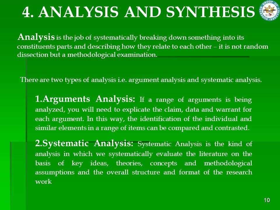 4. ANALYSIS AND SYNTHESIS
