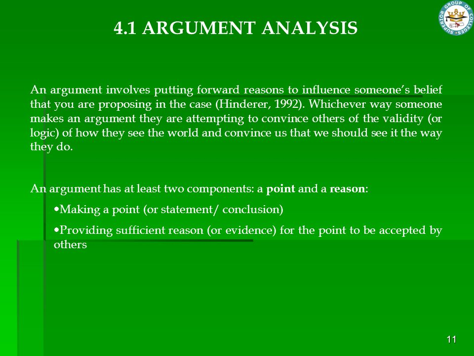 4.1 ARGUMENT ANALYSIS