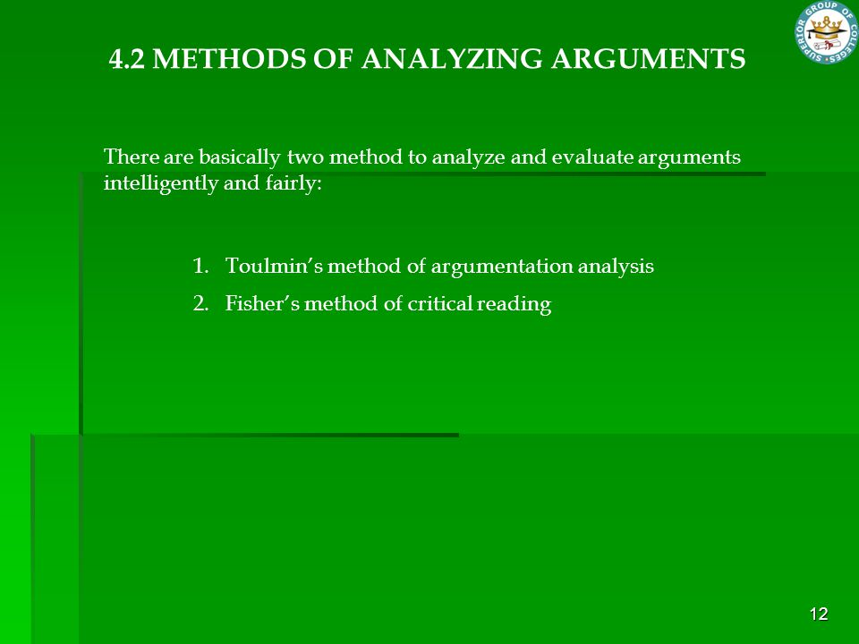 4.2 METHODS OF ANALYZING ARGUMENTS