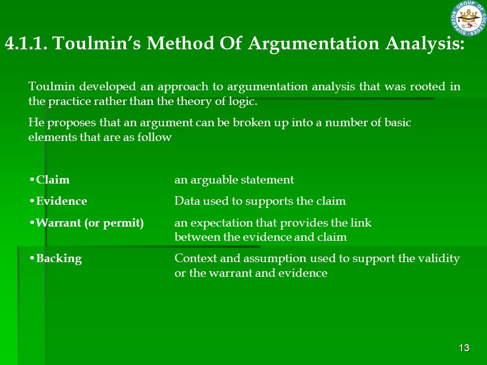 4.1.1. Toulmin's Method Of Argumentation Analysis: