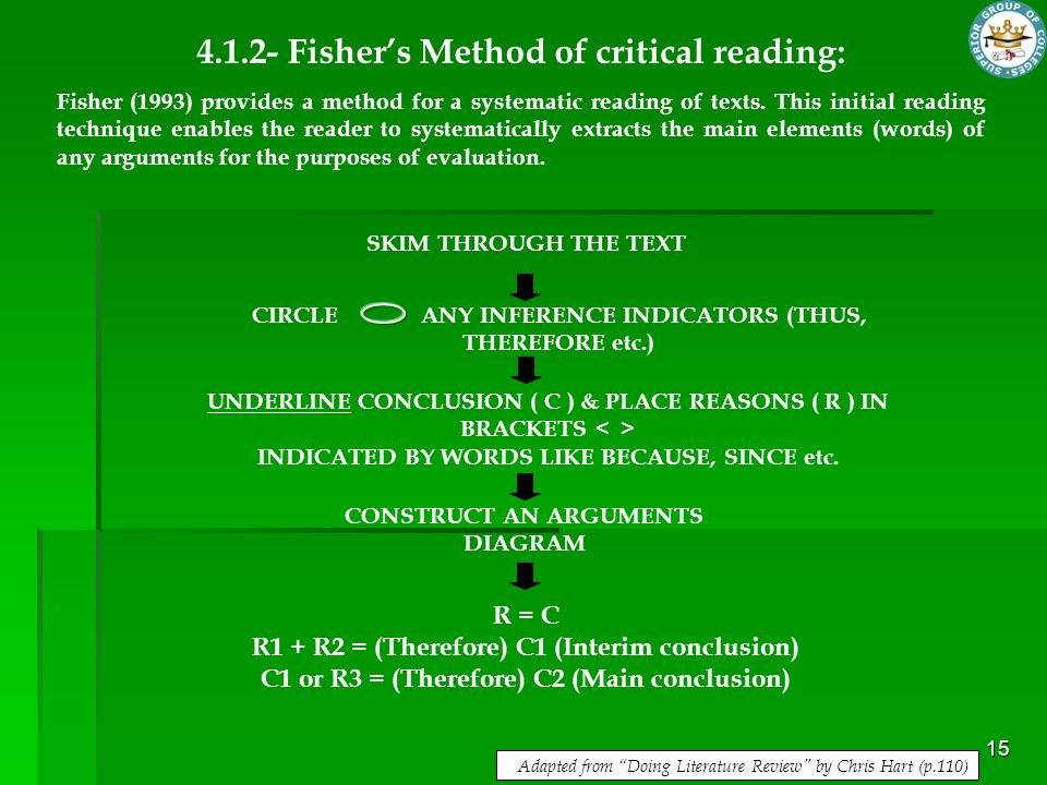 4.1.2- Fisher's Method of critical reading: