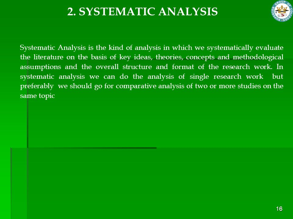2. SYSTEMATIC ANALYSIS