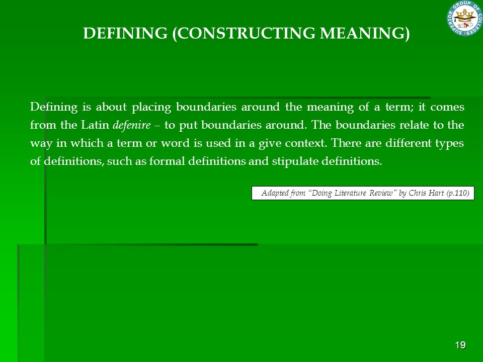 DEFINING (CONSTRUCTING MEANING)