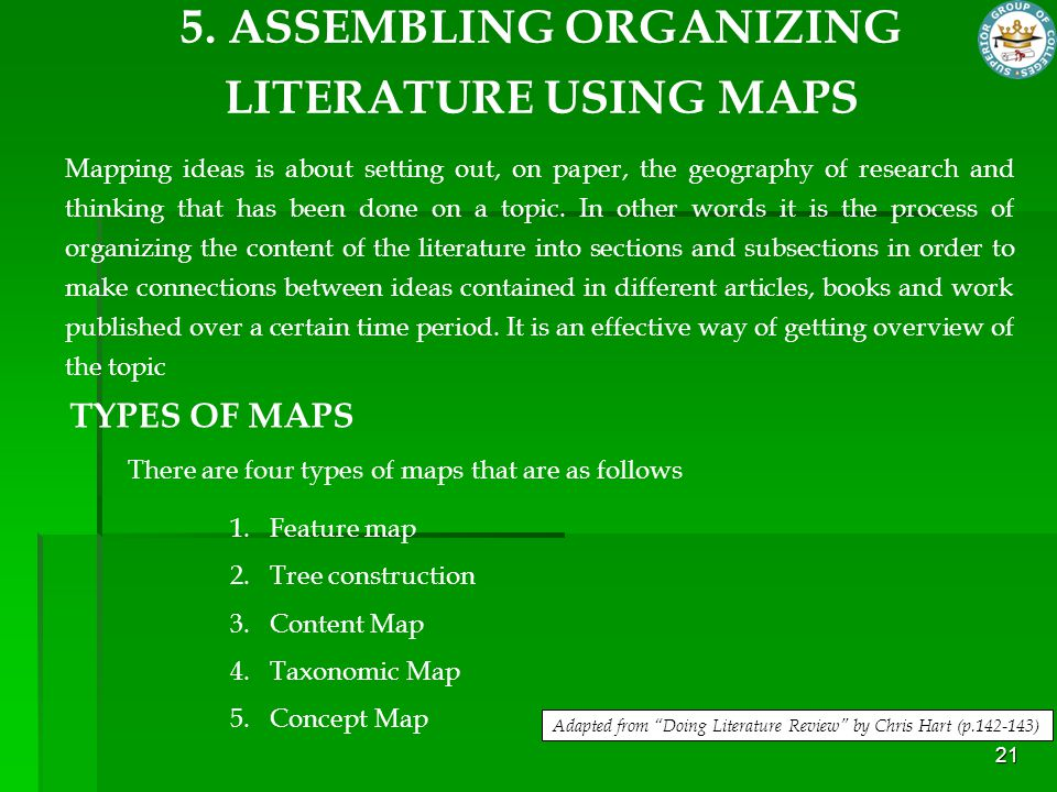 5. ASSEMBLING ORGANIZING LITERATURE USING MAPS