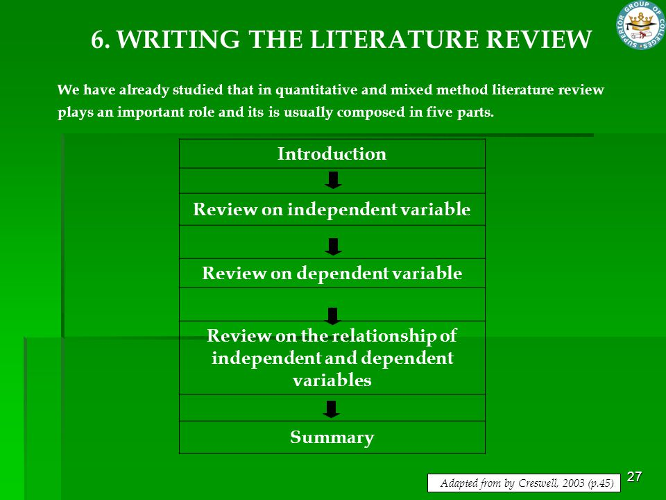 6. WRITING THE LITERATURE REVIEW