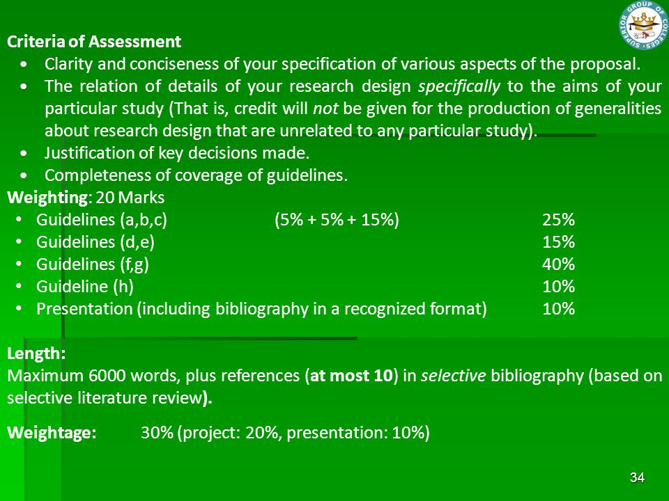 Criteria of Assessment