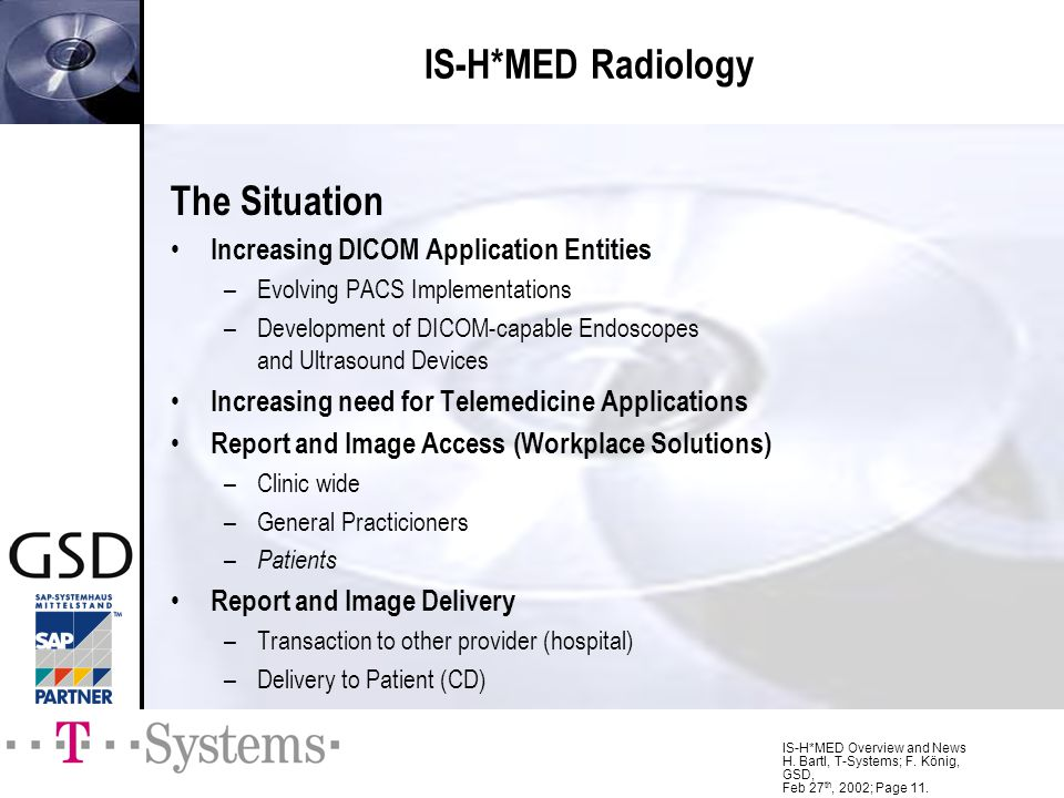 IS-H*MED Radiology The Situation Increasing DICOM Application Entities