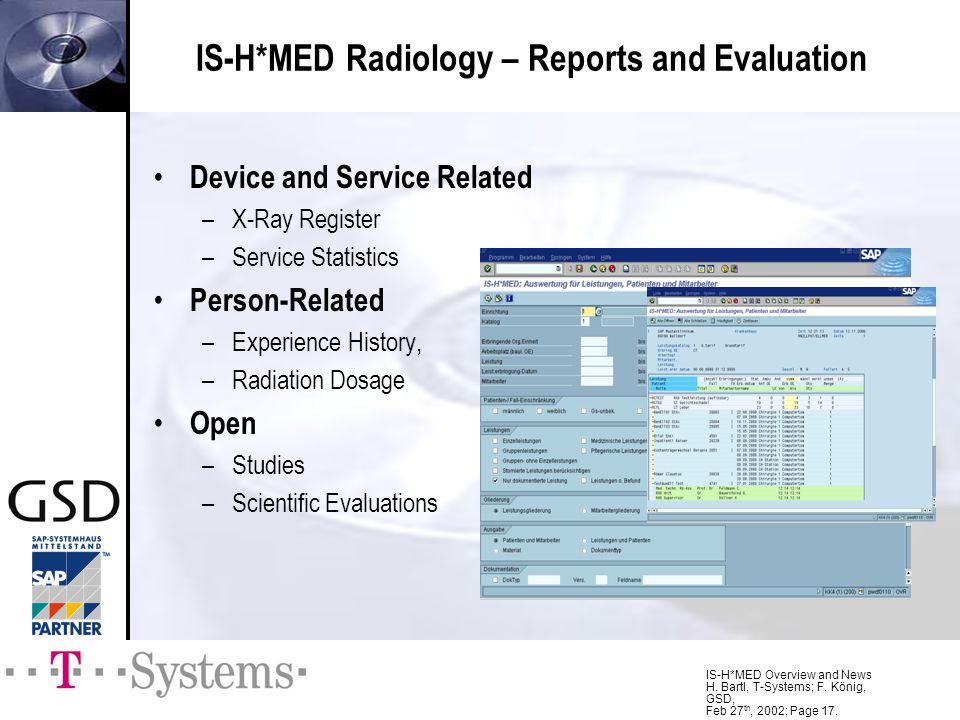 IS-H*MED Radiology – Reports and Evaluation