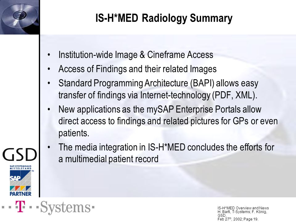 IS-H*MED Radiology Summary