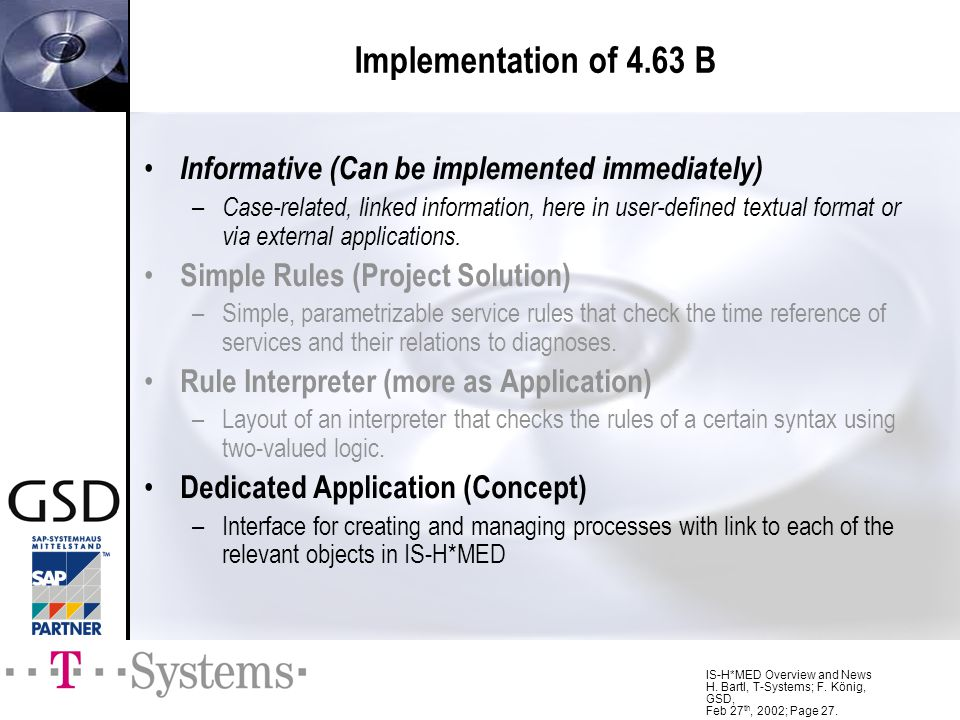 Implementation of 4.63 B Informative (Can be implemented immediately)