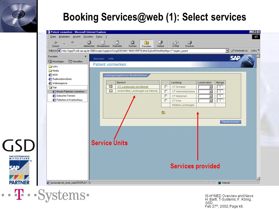 Booking (1): Select services