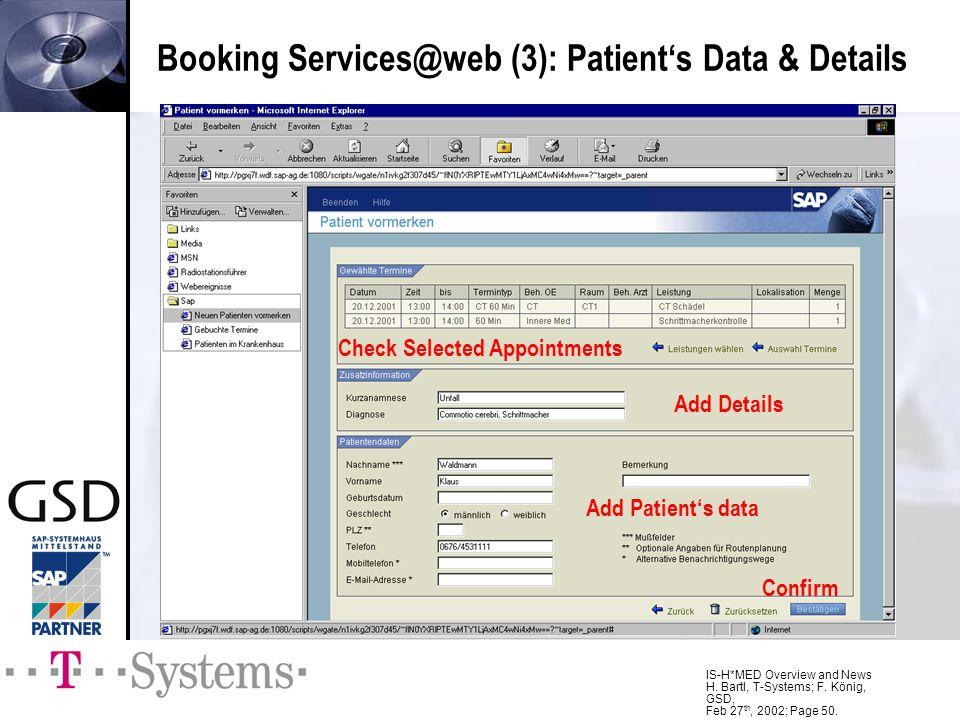 Booking Services@web (3): Patient's Data & Details